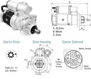 Motor Mercedes V OF1721-1720/OH1721/OH1623 Delco Remy 29MT-24V-11T/4.0KW Cod Delco 8200296.