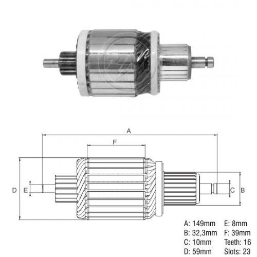 Inducido VM-M.Bens-Ford Cargo-Chevrolet Series D-Agrale-CBT (Maquinarias) 12V-L=149 mm-16 T.