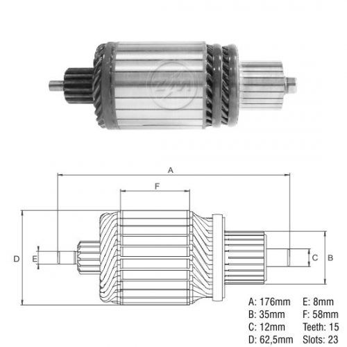 Inducido Linea FORD Tractor TL90-Jhon Deere Tractor-Valtra Tractor. 12V-15T-L= 176 mm Cod.Iskra:16908339
