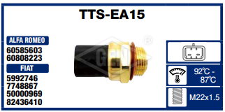 THERMO SWITCH FIAT,PEUGEOT,CITROEN, 92-87*C.